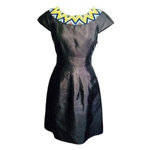 Tibi Black Cocktail Dress Beaded Neck Size 6